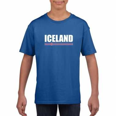 Ijslandse supporter t shirt blauw kinderen