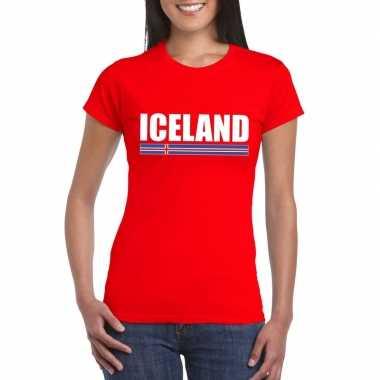 Ijslandse supporter t shirt rood dames
