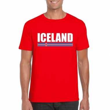 Ijslandse supporter t shirt rood heren