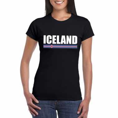 Ijslandse supporter t shirt zwart dames