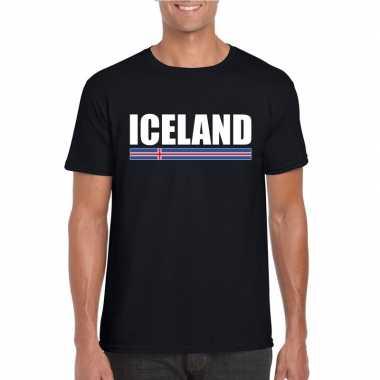 Ijslandse supporter t shirt zwart heren