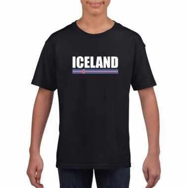 Ijslandse supporter t shirt zwart kinderen