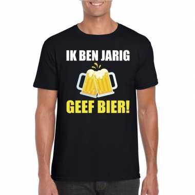 Ik ben jarig t shirt zwart bier heren