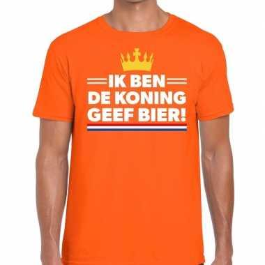 Ik ben koning geef bier t shirt oranje heren