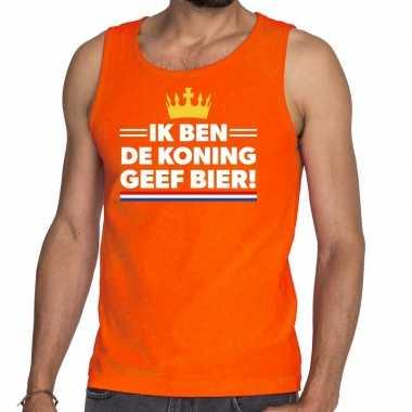 Ik ben koning geef bier tanktop / mouwloos shirt oranje heren
