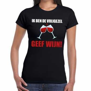 Ik ben vrijgezel geef wijn zwart fun t shirt dames