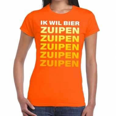 Ik wil bier zuipen fun t shirt oranje dames