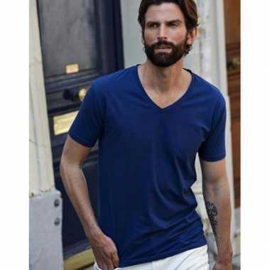 Indigo blauw stretch t-shirts heren
