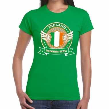 Ireland drinking team t shirt groen dames