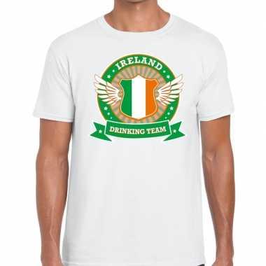 Ireland drinking team t shirt wit heren