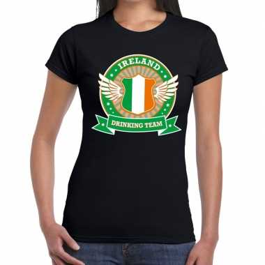 Ireland drinking team t shirt zwart dames