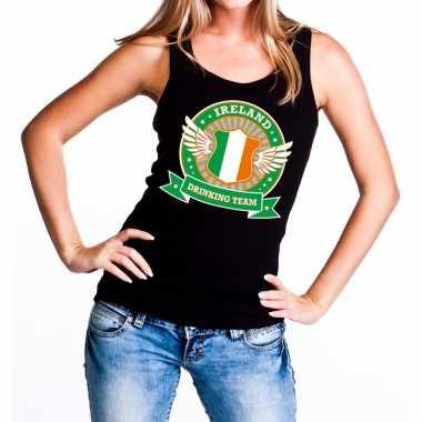 Ireland drinking team tanktop / mouwloos shirt zwart dames