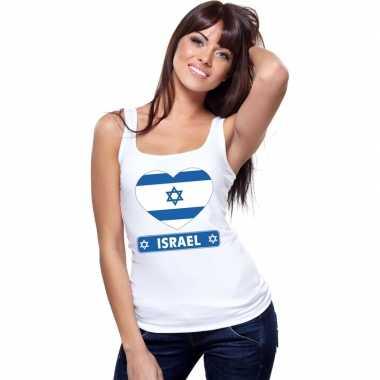 Israel hart vlag mouwloos shirt wit dames