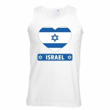 Israel hart vlag mouwloos shirt wit heren