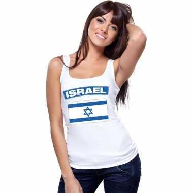 Israel vlag mouwloos shirt wit dames