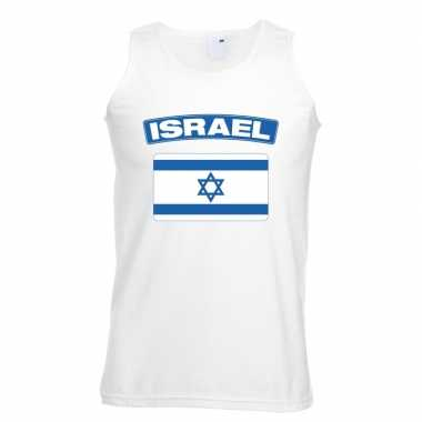 Israel vlag mouwloos shirt wit heren