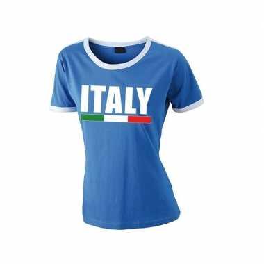 Italiaanse supporter ringer t shirt blauw witte randjes dames