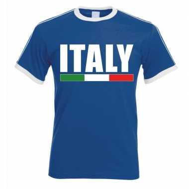 Italiaanse supporter ringer t shirt blauw witte randjes heren