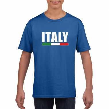 Italiaanse supporter t shirt blauw kinderen