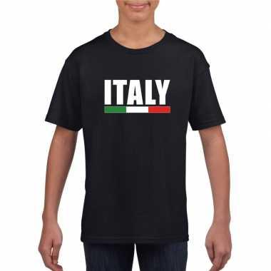 Italiaanse supporter t shirt zwart kinderen
