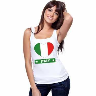 Italie hart vlag mouwloos shirt wit dames