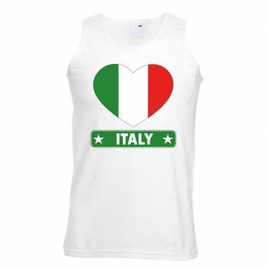Italie hart vlag mouwloos shirt wit heren