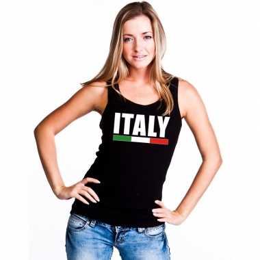 Italie supporter mouwloos shirt/ tanktop zwart dames