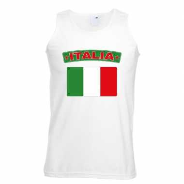 Italie vlag mouwloos shirt wit heren