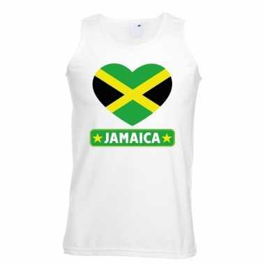 Jamaica hart vlag mouwloos shirt wit heren