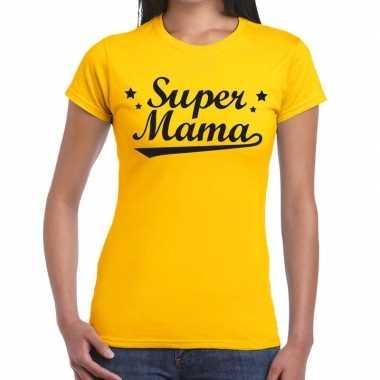 Kadoshirt super mama geel dames