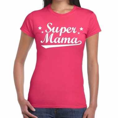 Kadoshirt super mama roze dames