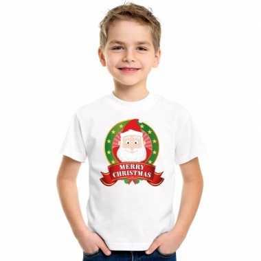 Kerstman kerstmis shirt wit jongens meisjes