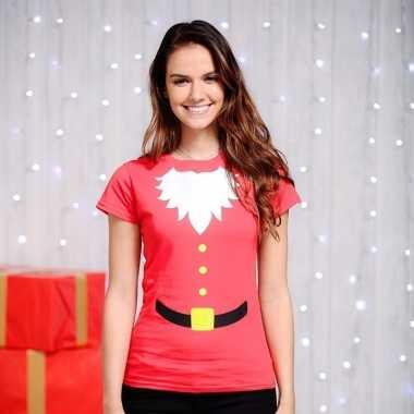 Kerstman t-shirt rood dames