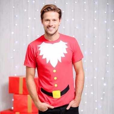 Kerstmannen print t-shirt heren