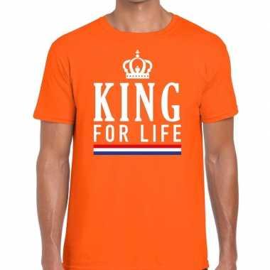 King for life t shirt oranje heren