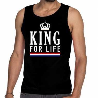 King for life tanktop / mouwloos shirt zwart heren