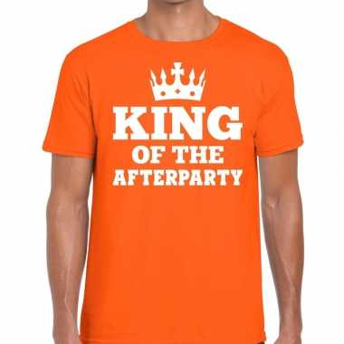 King of the afterparty shirt oranje kroontje heren