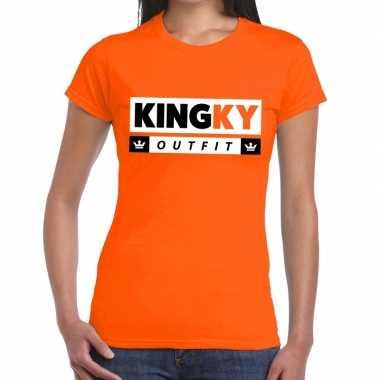 Kingky outfit t shirt oranje dames