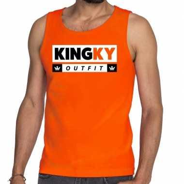 Kingky outfit tanktop / mouwloos shirt oranje heren
