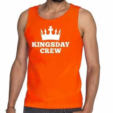 Kingsday crew tanktop / mouwloos shirt oranje heren