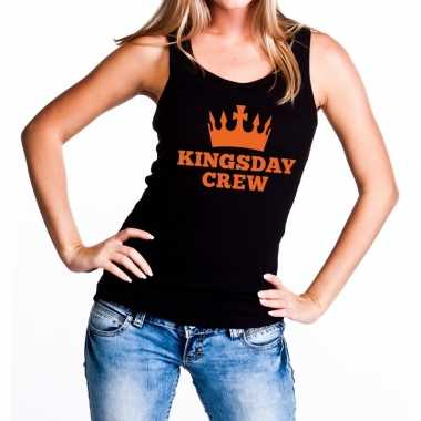 Kingsday crew tanktop / mouwloos shirt zwart dames
