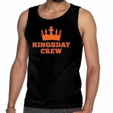 Kingsday crew tanktop / mouwloos shirt zwart heren