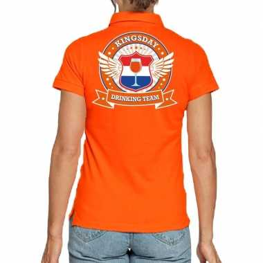 Kingsday drinking team polo t shirt oranje kroon dames