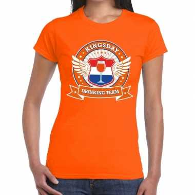 Kingsday drinking team t shirt oranje dames