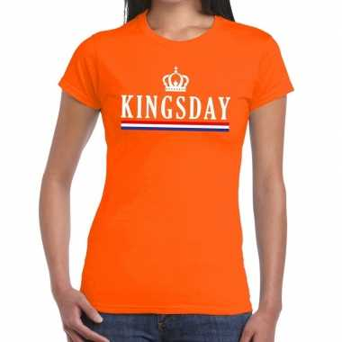 Kingsday hollandse vlag t shirt oranje dames