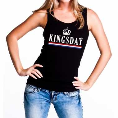 Kingsday tanktop / mouwloos shirt zwart dames