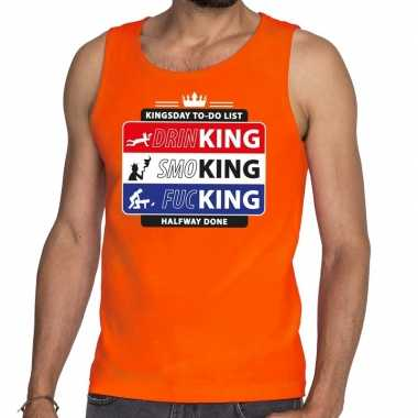 Kingsday to do list tanktop/mouwloos shirt oranje heren