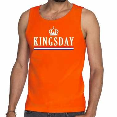 Kingsday vlag kroon tanktop / mouwloos shirt oranje heren