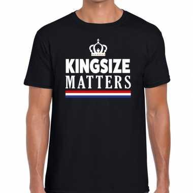 Kingsize matters t shirt zwart heren