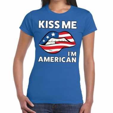 Kiss me i am american blauw fun t shirt dames